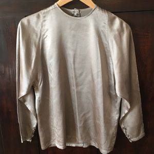 Ellen Tracy 100% Silk Pewter Blouse 2